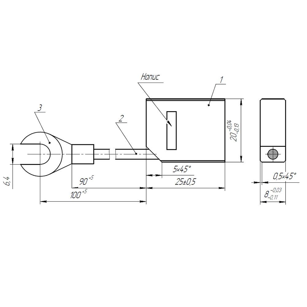Электрографитовая щетка ЭГ14 8x20x25 К4-2 фото 1