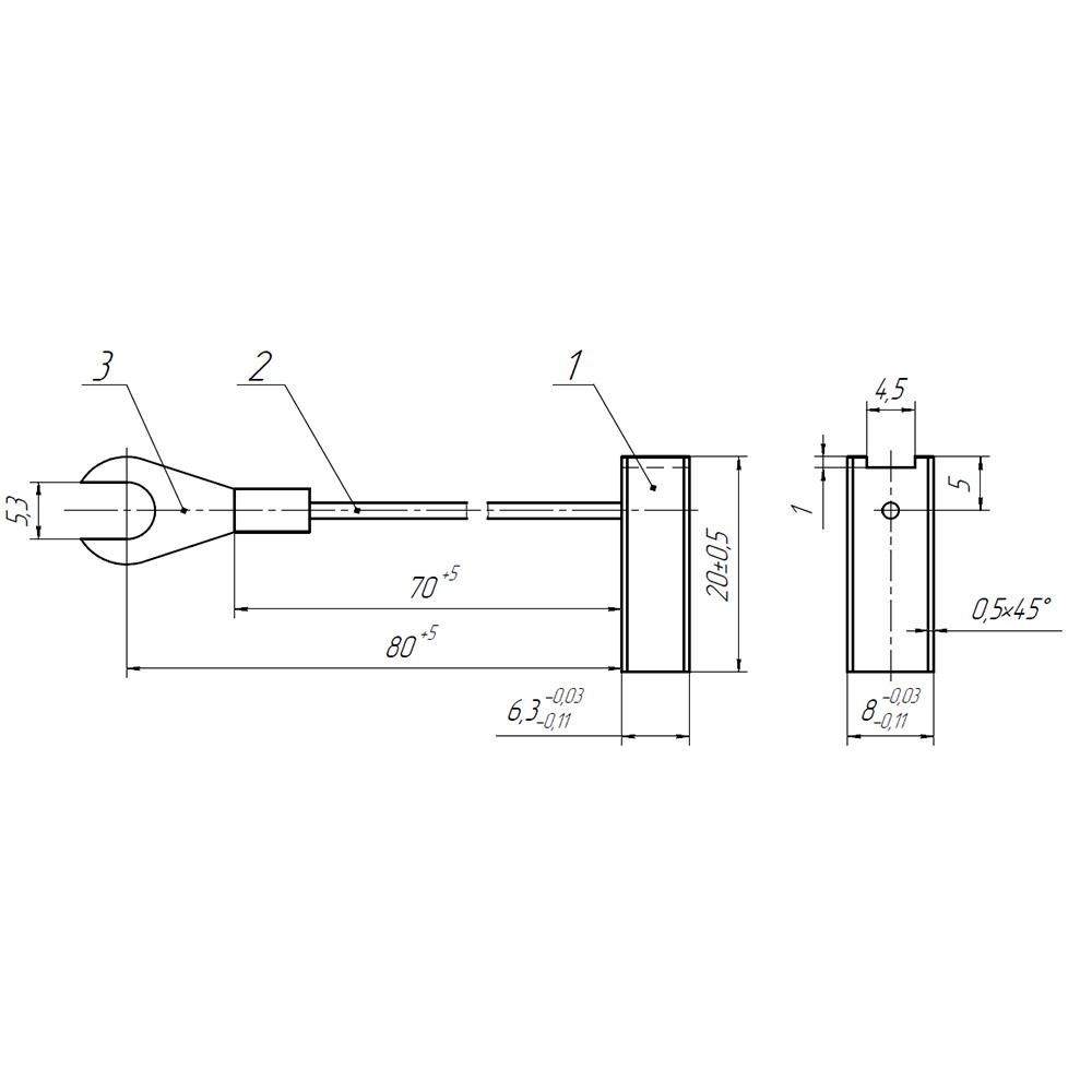 Электрографитовая щетка ЭГ2А 6.3x8x20 К1-5 фото 1