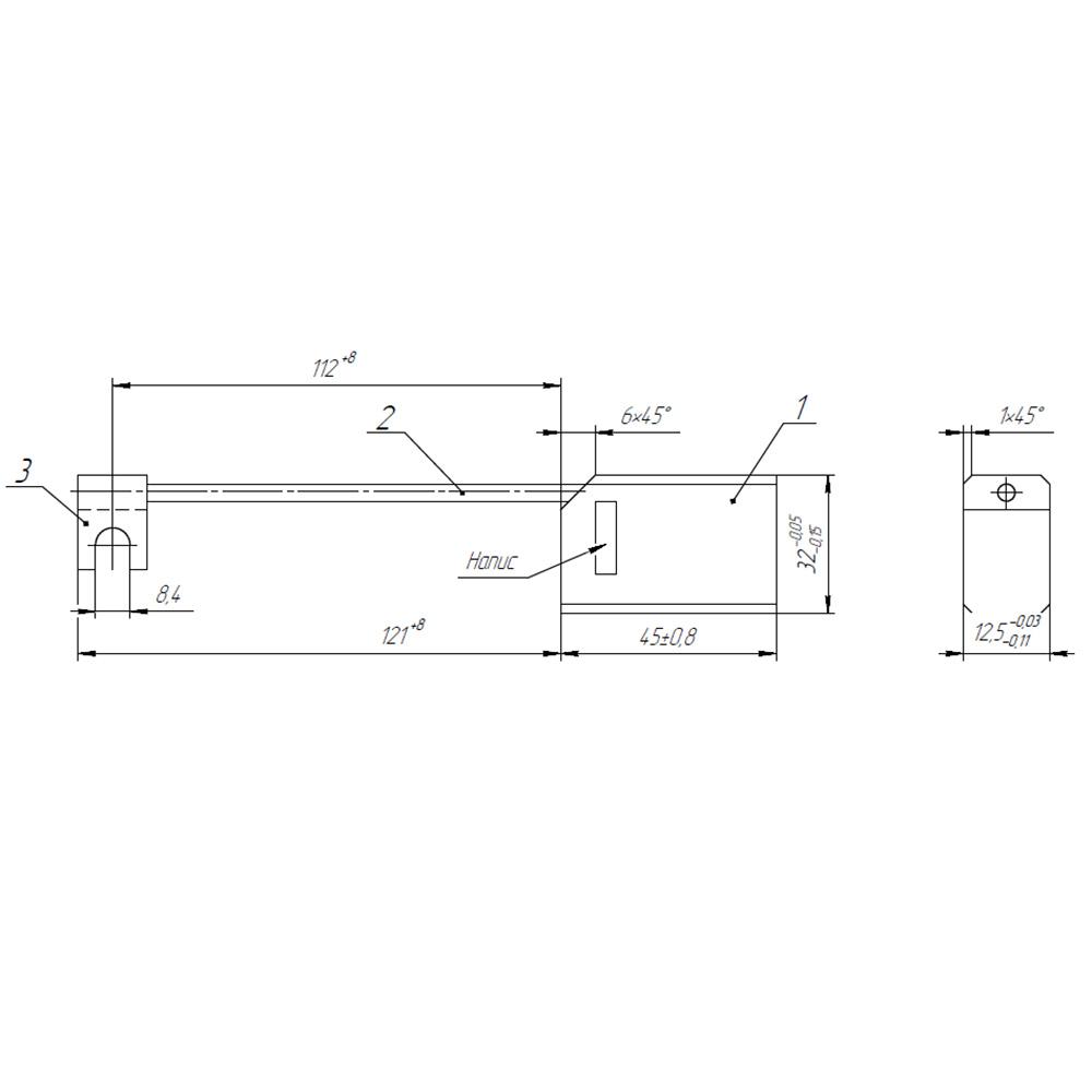 Электрографитовая щетка ЭГ841 12.5x32x45 К4-2 фото 1