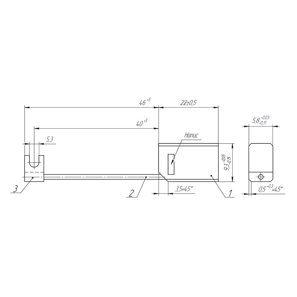 Електрографітна щітка ЕГ841 5.8x9.3x22 К4-2 фото  1