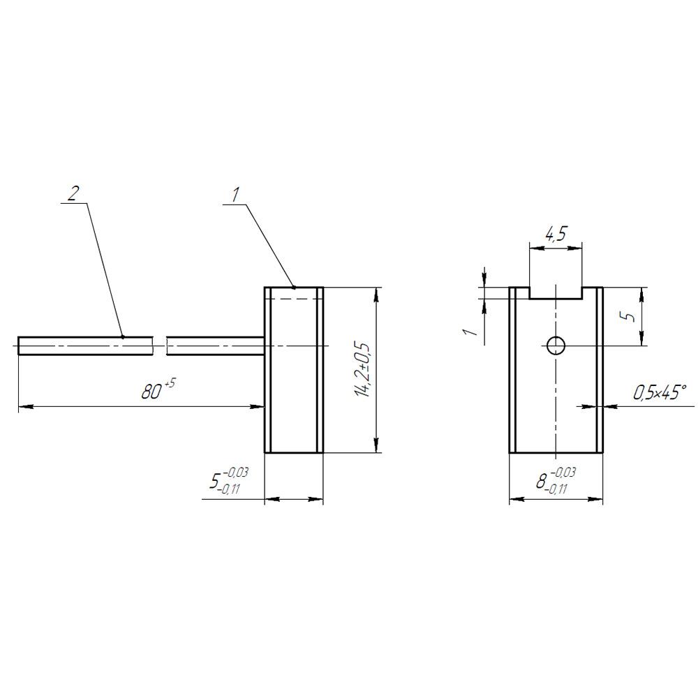 Электрографитовая щетка ЭГ841 5x8x14.2 К8-5 фото 1