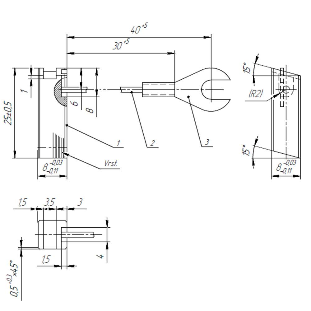 Електрографітна щітка ЕГ841 8x8x25 К8-4 фото  1