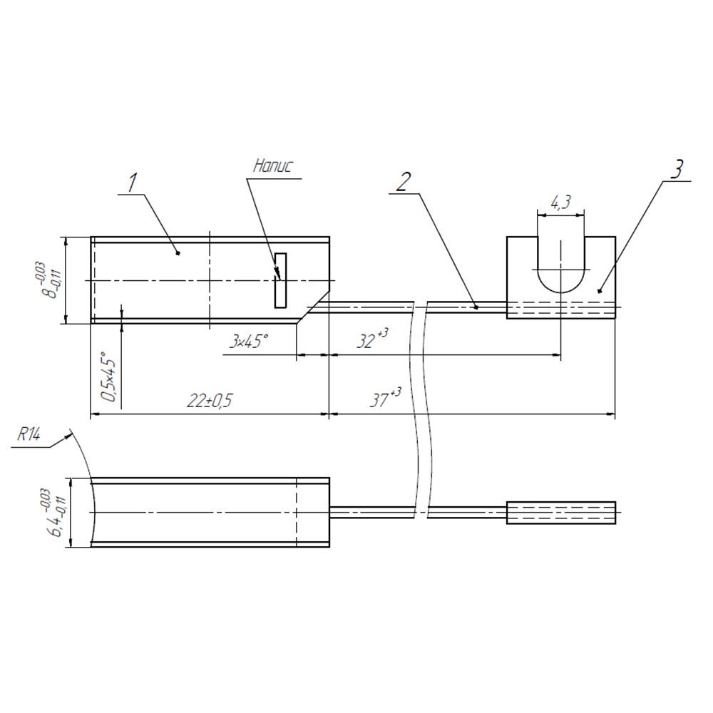 Міднографітова щітка МГ 6.4x8x22 К4-2 фото  1